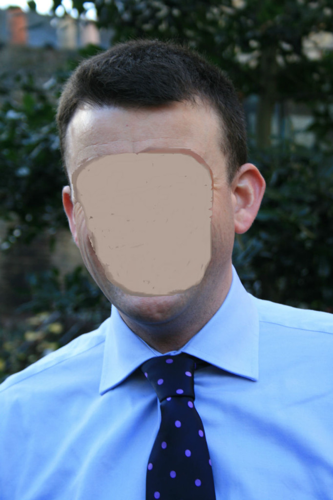 A picture of a man without a face